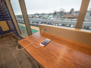 Technology Counter in Platform Waiting Room at Bellmore Station 01-29-19