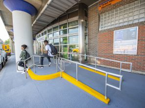 ADA Ramp to Hicksville Station Entrance 09-06-18 (Photo by MTA Capital Construction/Trent Reeves)