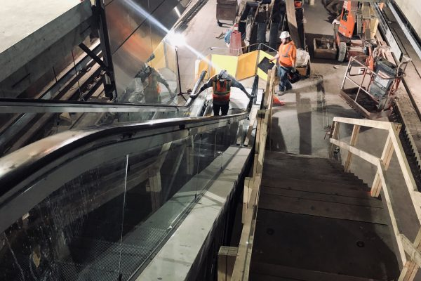 Escalator installation between the mezzanine adn lower levels of the west cavern 03-18-19