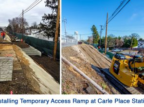 Installing Temporary Access Ramp at Carle Place Station