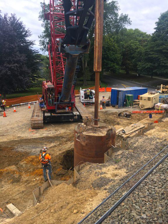 Accabonac Road Bridge - Foundation Shaft Installation - 09-6-19