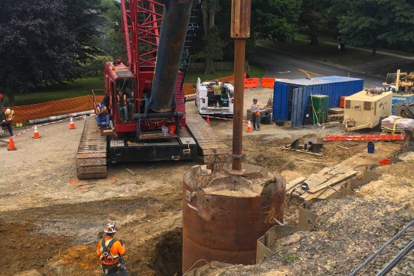 Accabonac Road Bridge - Foundation Shaft Installation - 09-6-19