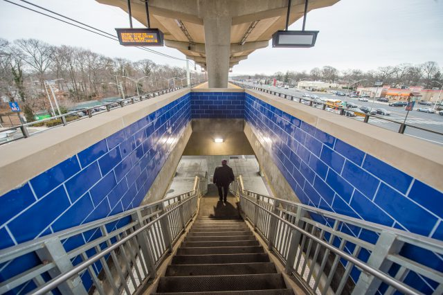 New Blue Tiling at Merrick Station Stairways - 01-29-19