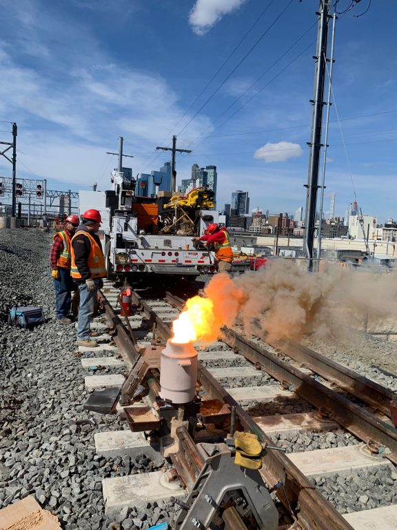 Welding the newly-installed westbound bypass track at Harold Interlocking. 04-12-19