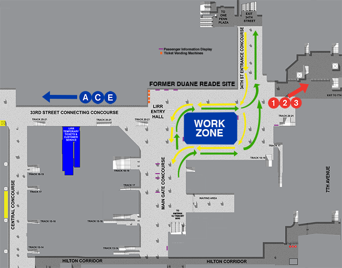 New Work Zone at EEG-LIRR Concourse