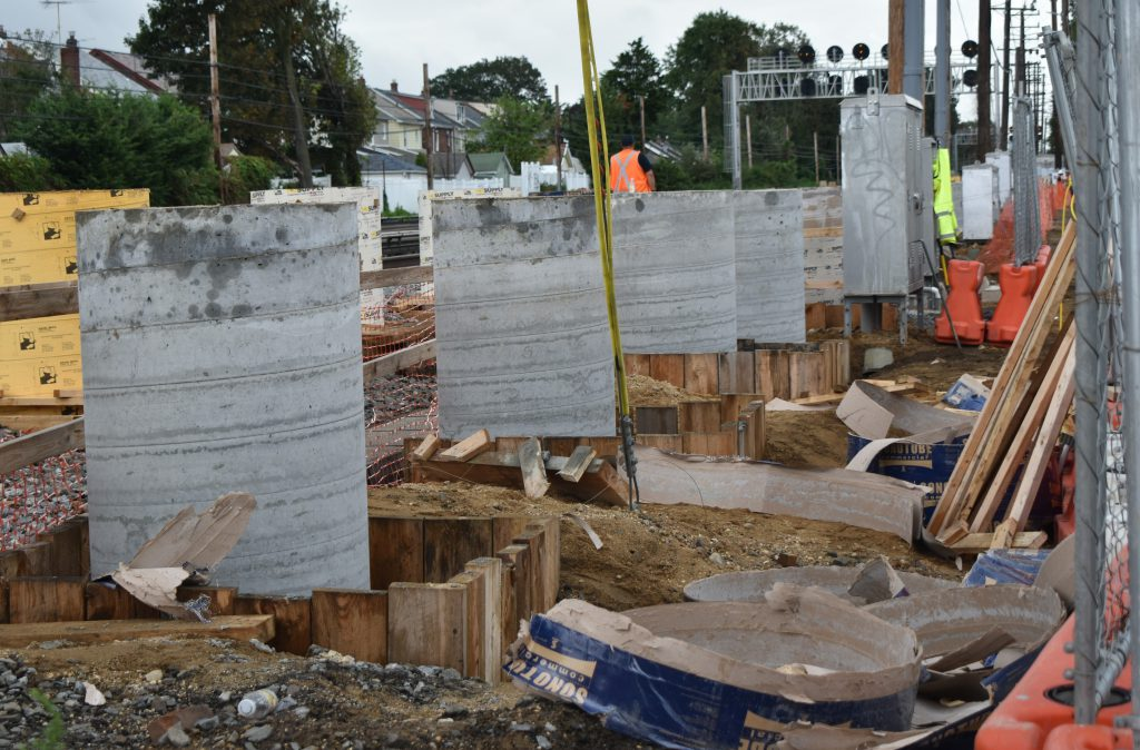 New Elmont Station After: The concrete columns that will support the platforms - 09-02-20