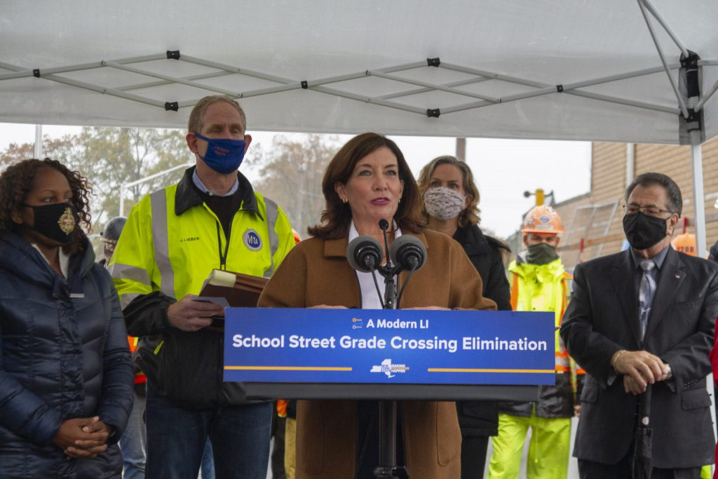 Lt. Gov. Kathy Hochul addresses the media at the opening of the School Street underpass
