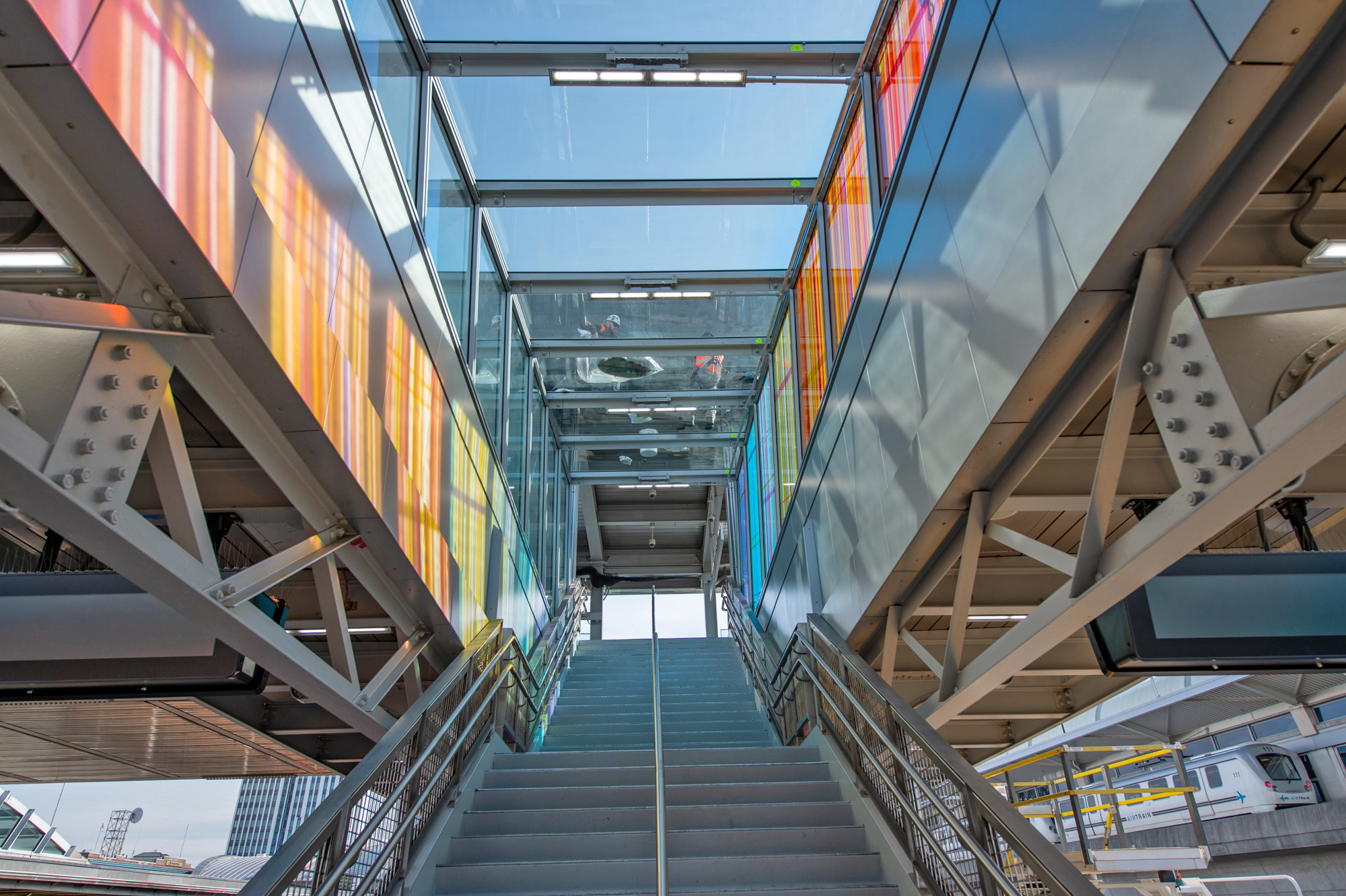 Platform F stairway with glass artwork